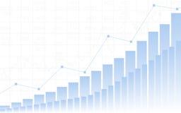 Abstraktes Geschäftsdiagramm mit hohem Trendliniediagramm, Balkendiagramm und Typenbezeichnungen auf weißem Farbhintergrund Stockbilder