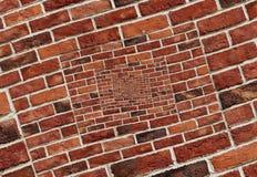 Abstraktes gewundenes abstraktes Wand-Beschaffenheitshintergrundmuster des Effektroten backsteins Wand-Spirale mosa Bogenbogenmos stock abbildung