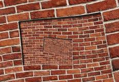 Abstraktes gewundenes abstraktes Wand-Beschaffenheitshintergrundmuster des Effektroten backsteins Wandspirale Bogenbogenmosaik-Zi Stockbild