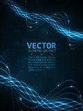 Abstraktes Glühen gewunden Vektorpartikellicht Blaue Zeilen Hintergrund Stockbild
