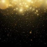 Abstraktes Gold-bokeh mit schwarzem Hintergrund Twinkly Schablone ENV 10 Lichter der defocused Zusammenfassung des Funkelns Weihn stock abbildung