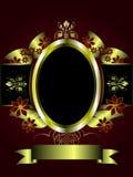 Abstraktes Gold und tiefroter Blumenhintergrund Lizenzfreies Stockfoto