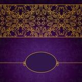 Abstraktes Gold und violetter Einladungsrahmen Lizenzfreies Stockfoto
