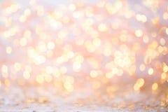 Abstraktes Goldbokeh Weihnachts- und des neuen Jahresthemahintergrund Stockfoto