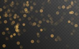 Abstraktes goldenes glänzendes bokeh lokalisiert auf transparentem Hintergrund Dekoration oder Weihnachtshintergrund vektor abbildung