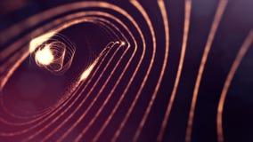 Abstraktes goldenes Rot schlang Hintergrund von glühenden Partikeln wie Chrisrmas-Girlande Dunkle Zusammensetzung mit dem Oszilli stock abbildung