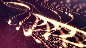 Abstraktes goldenes Rot schlang Hintergrund von glühenden Partikeln wie Chrisrmas-Girlande Dunkle Zusammensetzung mit dem Oszilli vektor abbildung