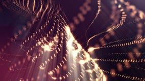 Abstraktes goldenes Rot schlang Hintergrund von glühenden Partikeln wie Chrisrmas-Girlande Dunkle Zusammensetzung mit dem Oszilli lizenzfreie abbildung