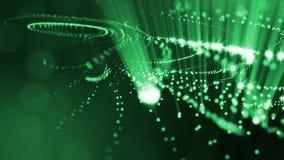 Abstraktes Grün schlang Hintergrund von glühenden Partikeln wie Chrisrmas-Girlande Dunkle Zusammensetzung mit dem Oszillieren leu vektor abbildung