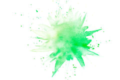 Abstraktes grünes Aquarellspritzen stockbilder