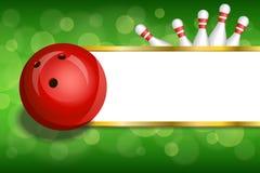 Abstraktes grünes Gold des Hintergrundes streift rollende rote Ballrahmenillustration Lizenzfreie Stockfotografie