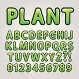 Abstraktes grünes Natur-Alphabet und Zahlen Stockfoto