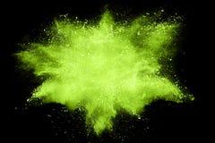 Abstraktes grünes Pulver splatted Stockfotografie
