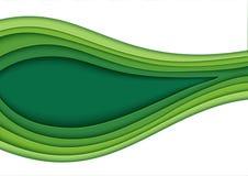 Abstraktes grünes Schichtpapier schnitzen Hintergrund Lizenzfreies Stockbild
