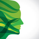 Abstraktes grünes Streifengesicht lizenzfreie abbildung