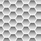 Abstraktes Halbton, unbedeutendes nahtloses Muster auf weißem Hintergrund vom Hexagon Steigungshalbtonpop-arten-Retrostil Lizenzfreies Stockbild