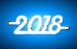 Abstraktes helles 2018 Designneontext auf blauem Hintergrund Lizenzfreies Stockfoto