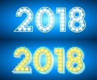 Abstraktes helles 2018 Designneontext auf blauem Hintergrund Stockfoto