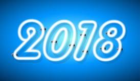 Abstraktes helles 2018 Designneontext auf blauem Hintergrund Stockbild
