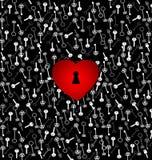 Abstraktes Herz der Verzierung rote Farbmit Loch und Schlüsseln Lizenzfreie Abbildung