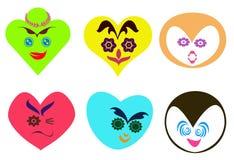 Abstraktes Herz formte Gesichter mit unterschiedlichem Ausdruckhintergrund Stock Abbildung