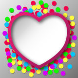 Abstraktes Herz mit Konfetti-Stückchen Stockbild