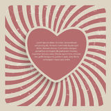 Abstraktes Herz-Retro- Schmutz-Hintergrund-Vektor-Illustration Stockbild
