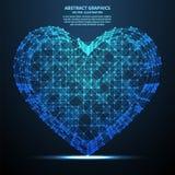 Abstraktes Herz, Vektorillustration Network Connections mit Punkten und Linien Abstrakter Technologie-Hintergrund Lizenzfreies Stockbild
