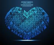 Abstraktes Herz, Vektorillustration Network Connections mit Punkten und Linien Abstrakter Technologie-Hintergrund Lizenzfreies Stockfoto