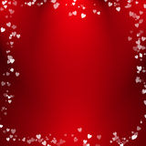 Abstraktes Herzblasendesign mit rotem Hintergrund Stockbild