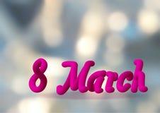 Abstraktes Hintergrund boke am 8. März Stockfotos