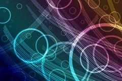 Abstraktes Hintergrunddesign mit bunten transparenten Streifen und Kreis schellt stock abbildung