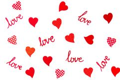 Abstraktes Hintergrundmuster der Liebe mit roten Herzen lizenzfreie abbildung