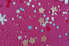 Abstraktes Hintergrundmuster der weißen Sterne auf dunkelroter Auslegung Lizenzfreie Stockbilder