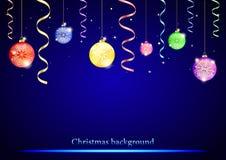 Abstraktes Hintergrundmuster der weißen Sterne auf dunkelroter Auslegung Bälle mit Schneeflocken, Konfettis, Geschenke auf blauem stock abbildung