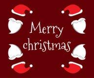 Abstraktes Hintergrundmuster der weißen Sterne auf dunkelroter Auslegung Frohe Weihnachten Sankt-Hut und -bart Vektor Abbildung
