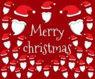 Abstraktes Hintergrundmuster der weißen Sterne auf dunkelroter Auslegung Frohe Weihnachten Sankt-Hut und -bart Lizenzfreie Abbildung