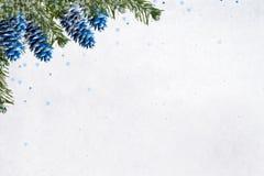 Abstraktes Hintergrundmuster der weißen Sterne auf dunkelroter Auslegung Gemalte blaue Tannenzapfen und grüne Niederlassungen Lizenzfreie Stockfotos