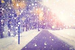Abstraktes Hintergrundmuster der weißen Sterne auf dunkelroter Auslegung Schneefälle im Winterpark auf Sonnenuntergang Färben Sie Lizenzfreies Stockbild