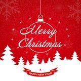Abstraktes Hintergrundmuster der weißen Sterne auf dunkelroter Auslegung Weihnachtsgrußkartenschablone mit Wünschen frohe Weihnac stockbild