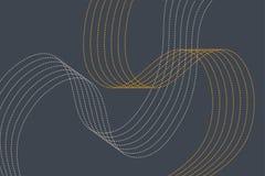 Abstraktes Hintergrundmuster gemacht mit curvy punktierten dünnen Linien in den grauen und gelben Farben lizenzfreie abbildung