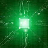 Abstraktes Hintergrundtechnologiekonzept im grünen Licht Stockbild
