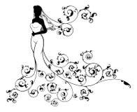 Abstraktes Hochzeits-Braut-Schattenbild Lizenzfreie Stockfotografie
