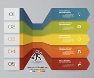 Abstraktes Infographics 5 Schrittfahnengestaltungselemente Planschablone mit 5 Schritten Lizenzfreie Stockfotos