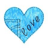 Abstraktes Jeansherz mit Liebe auf weißem Hintergrund stock abbildung