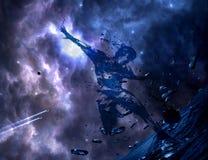 Abstraktes k?nstlerisches Aquarell eines Mannes, der einen Ball auf einem bunter Nebelfleck-galaktischen Grafik-Hintergrund schie lizenzfreie abbildung