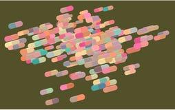 Abstraktes Kapsel-, Medizin- oder Pillenillustrationshintergrundmuster Medikation, Tapete, digital u. Antioxidans lizenzfreie abbildung