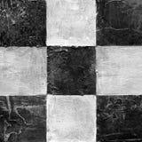 Abstraktes kariertes Muster gemalt mit Acryl oder Ölfarben auf Segeltuch in den Schwarzweiss-Farben Stockfoto