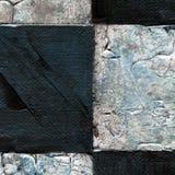 Abstraktes kariertes Muster gemalt mit Acryl oder Ölfarben auf Segeltuch in den Schwarzweiss-Farben Stockfotos