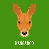 Abstraktes Karikaturkänguruhporträt Natur, Thema des wilden Tieres Lizenzfreie Stockbilder